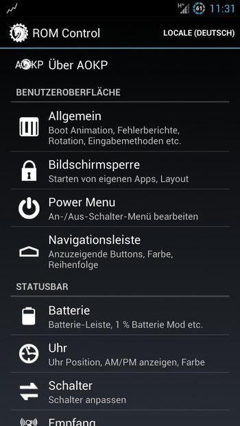 AOKP Jelly Bean Galaxy S3 Einstellungen