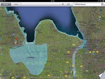 Hybrid-Ansicht von Google Maps