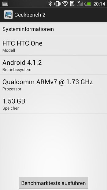 HTC One Geekbench 2 Benchmark