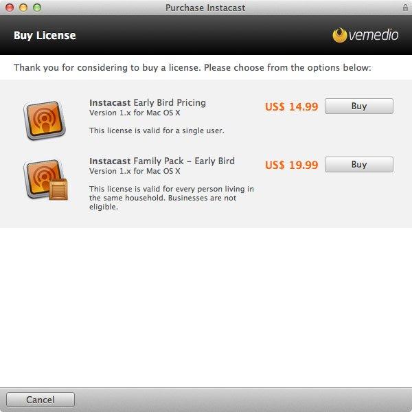 Instacast für Mac - Frühkäuferrabatt während der Beta Phase