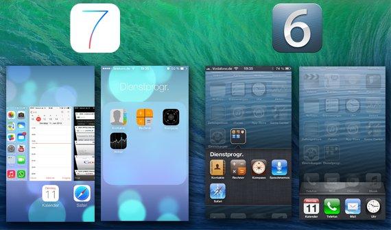 Ordner und Multitasking iOS 6 vs. iOS 7