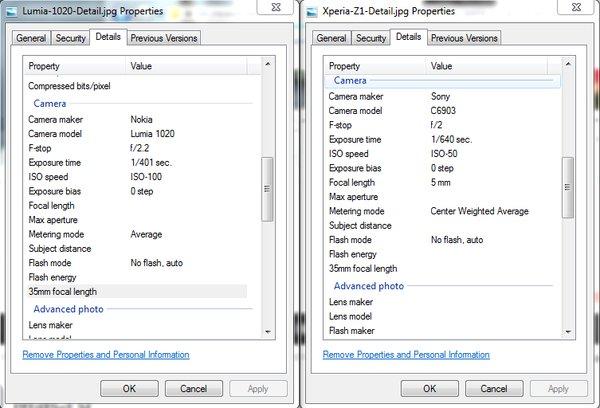 Die beiden Werte des Fotosensor, links Lumia, rechts Xperia