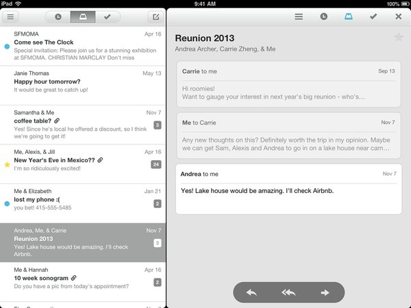 Mailbox App jetzt auch für das iPad