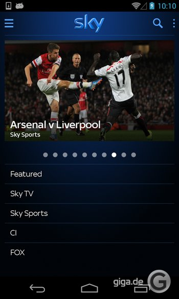 Sky Go für Android (UK)