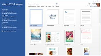 The new Office Word StartScreen