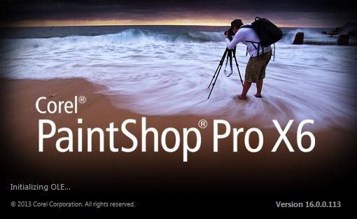 PaintShop Pro X6 Ladebildschirm
