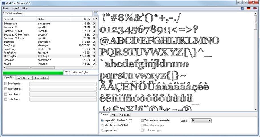 Der dp4 Font Viewer ist ein kostenloses Allround-Tool für Windows-Schriften