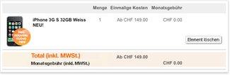 Schweiz: iPhone 3GS Tarife bei Orange
