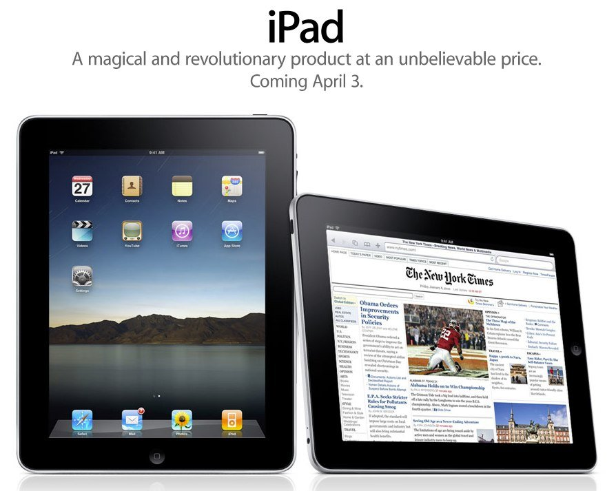 Apple: iPad WiFi ab 03. April in den USA verfügbar