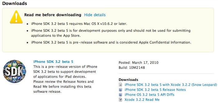 Entwickler: iPhone SDK 3.2 Beta 5 (Build 10M2148) veröffentlicht