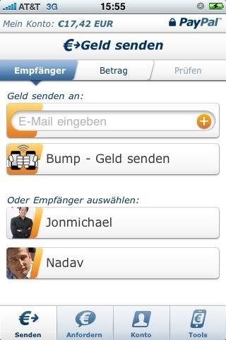 PayPal for iPhone: Bump to Send