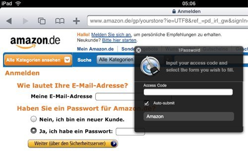 1Password Bookmarklet auf dem iPad