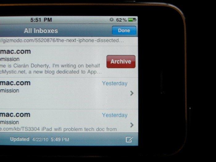 iPhone OS 4 soll Unterstützung für Google Mail-Post-Archivierung enthalten