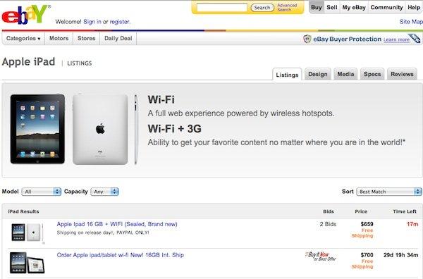 Ebay startet eigene iPad-Seite