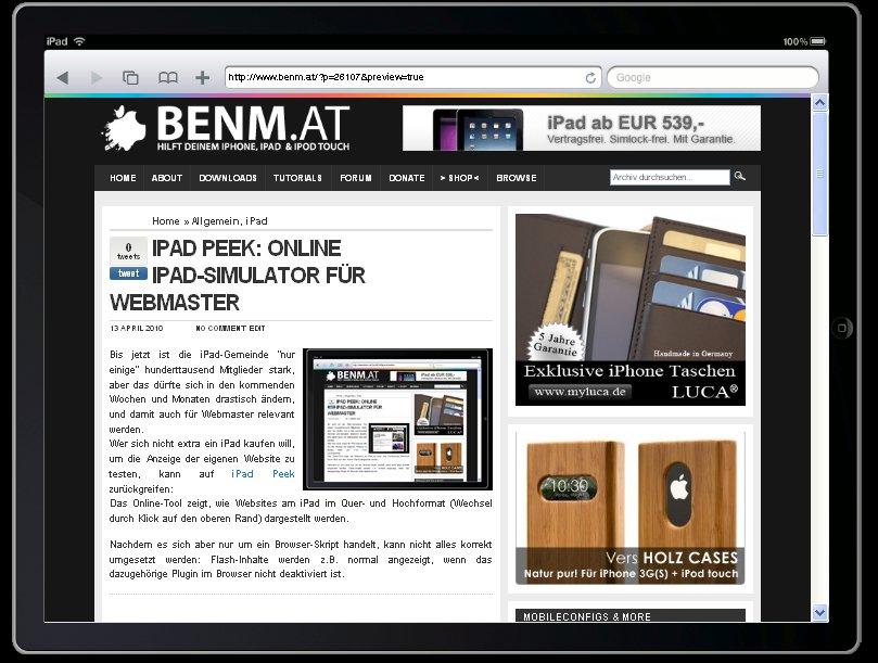 iPad Peek: Online iPad-Simulator für Webmaster