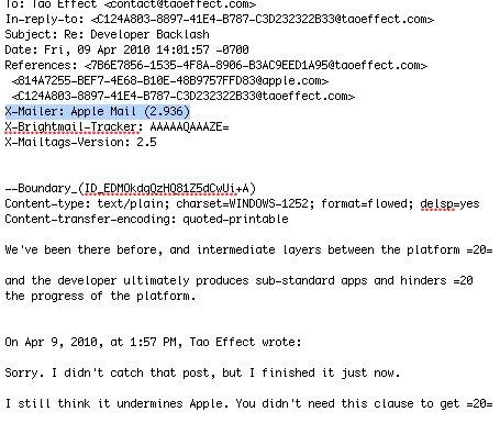 Headerdaten aus einem aktuellen Email von Steve Jobs