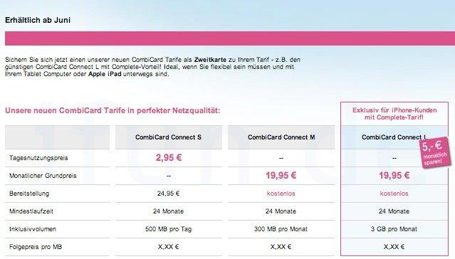 Screenshot bestätigt iPad-Tarife der Telekom