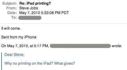 Steve Jobs verspricht Druckfunktion beim iPad