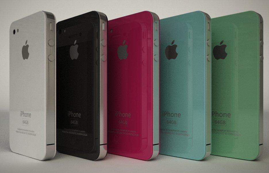 Mockup: iPhone 4G in 5 Farben