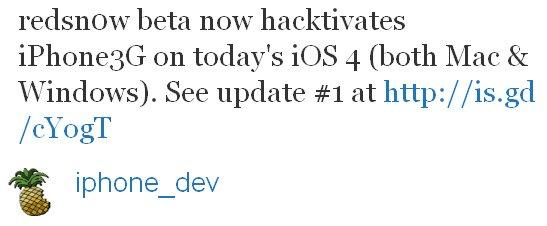 redsn0w für iPhone 3G mit iOS 4 jetzt mit Hacktivation