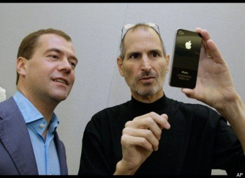 Dmitry Medvedev besucht Steve Jobs
