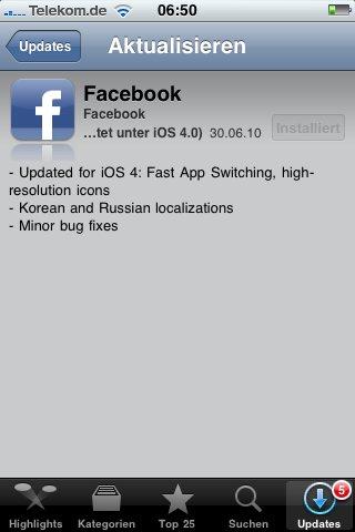 Facebook 3.1.4 unterstützt Fast App Switching unter iOS 4