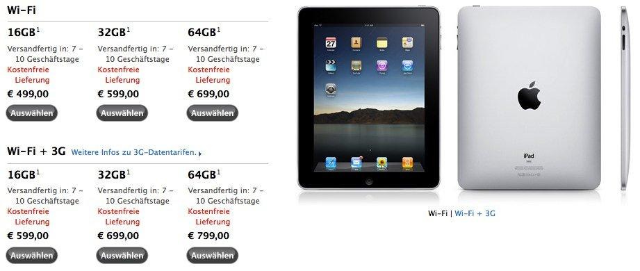 Endlich: iPad in Österreich auch im Apple Online Store
