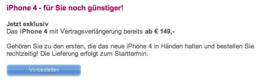 T-Mobile Austria: Vertragsverlängerung für iPhone 4 - Vorverkaufsstart