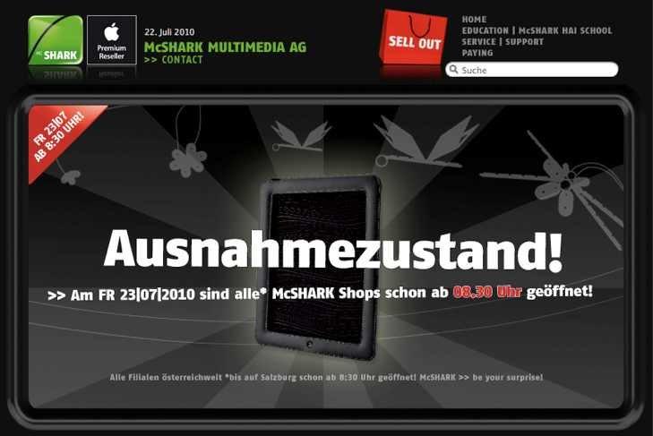iPad in Österreich: McShark öffnet morgen landesweit um 8:30 Uhr [Update]
