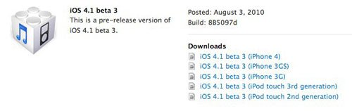 Für Entwickler: iOS 4.1 Beta 3 veröffentlicht