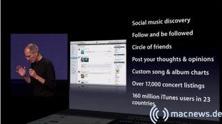 Apple Keynote: iTunes Ping Fakten