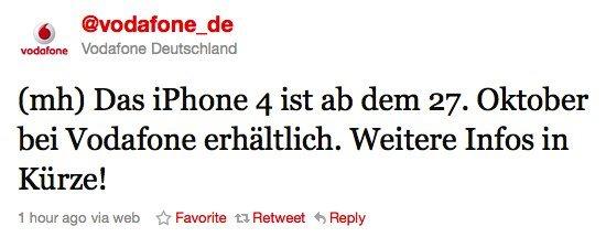 Deutschland: iPhone 4 ab 27. Oktober auch bei Vodafone