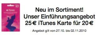 Ab 27. Oktober: €25,- iTunes Karten für nur €20,- bei Müller [Update]