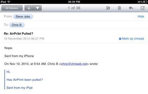 """Steve Jobs: """"AirPrint"""" wurde nicht entfernt"""