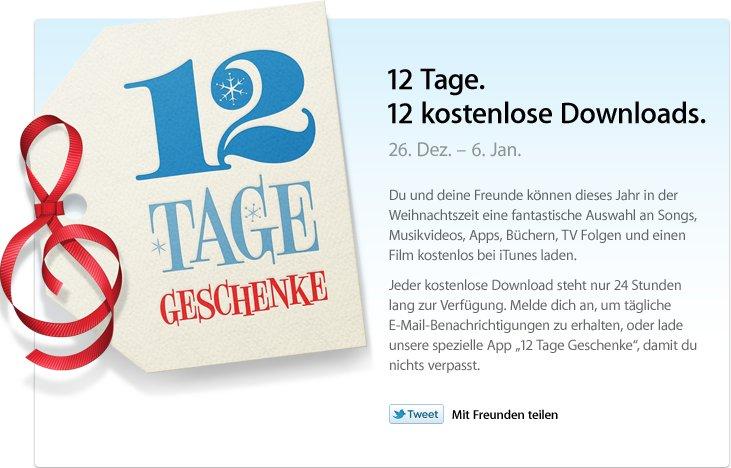 Ab 26. Dezember: 12 Tage - 12 kostenlose Downloads in iTunes [Update]