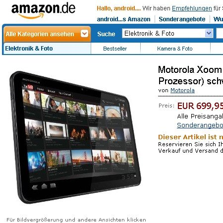 Bestätigt: Xoom ab Verkaufsstart bei Amazon