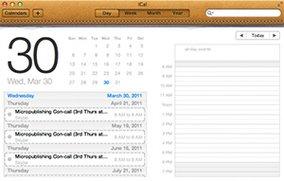 iCal in Mac OS X Lion: Jabber-Kontakte und Lederdesign