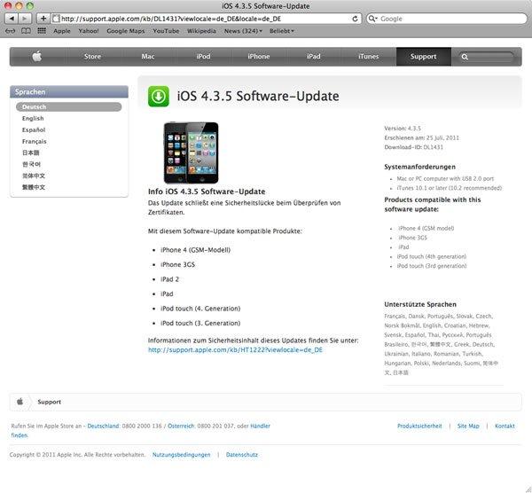 iOS 4.3.5 erschienen