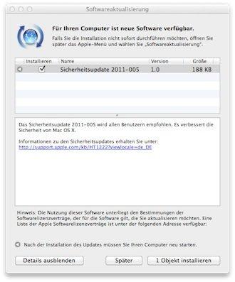 Mac OS X: Apple veröffentlicht Sicherheitsupdate