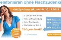 Simply clever Startpaket für 9,95 Euro: 50 Euro Startguthaben bis 30.11.