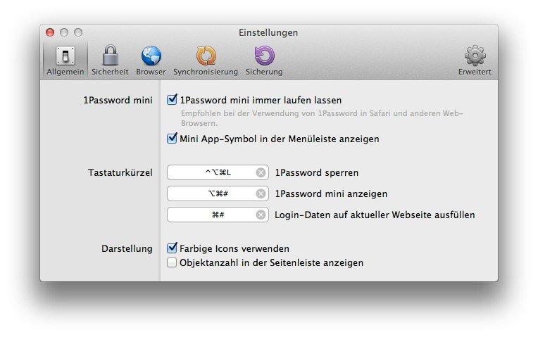 1Passwort-Mac-Hotkeys