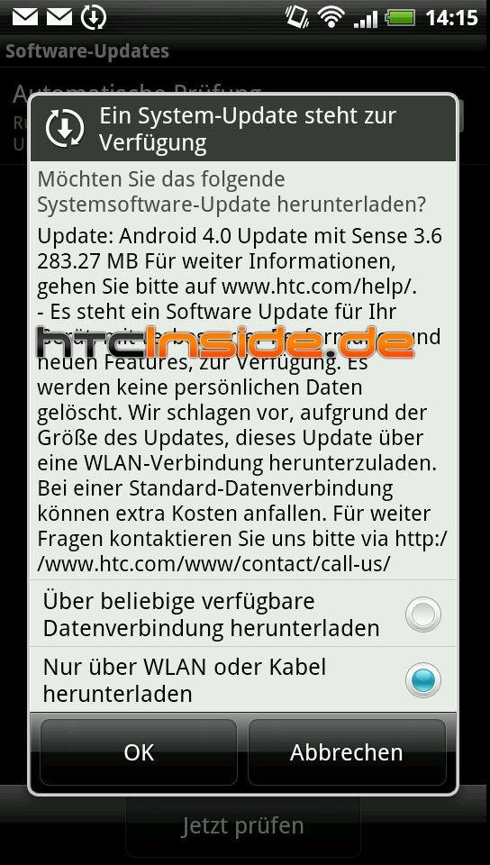 HTC Sensation mit Update auf ICS