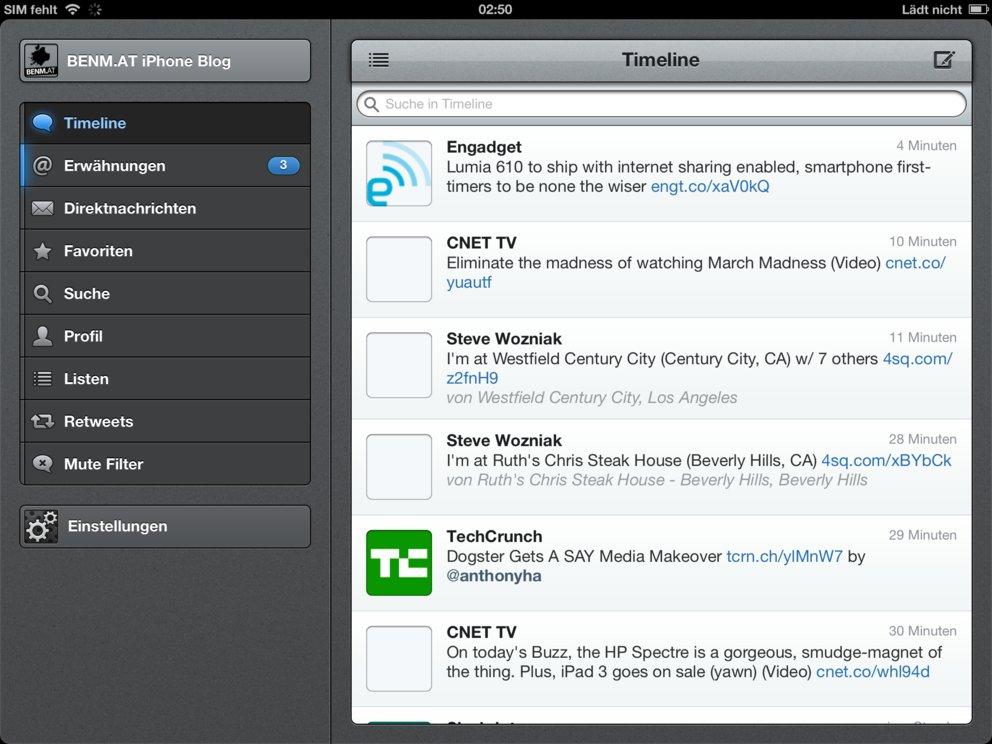 Tweetbot auf dem iPad 3