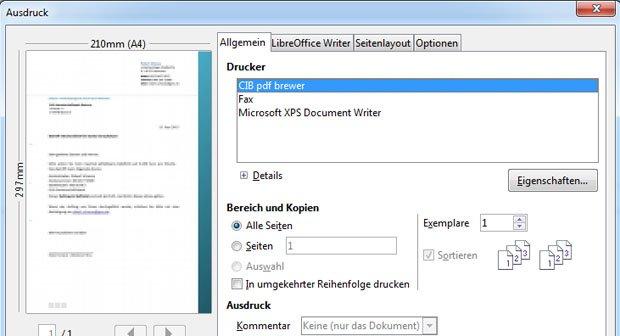 Das kostenlose Tool CIB pdf brewer speichert Office-Dokumente als PDF-Datei ab.