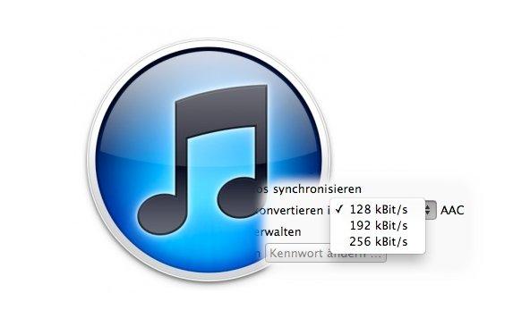 iTunes 10.6: Datenrate für Konvertierung wählbar