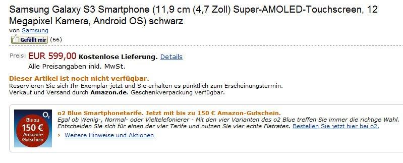 Samsung Galaxy S3: Vorbestellung bei Amazon.de