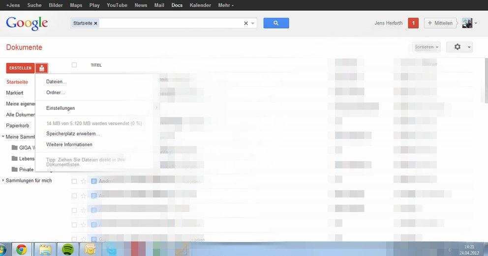 Google Drive 5GB in Docs verfügbar