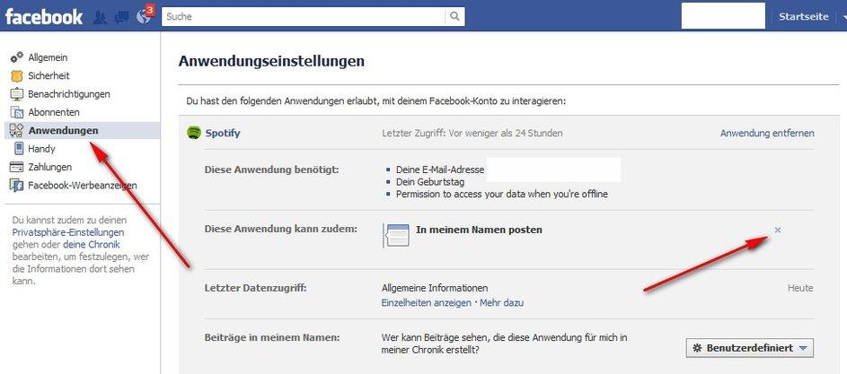 Spotify auf Facebook abschalten