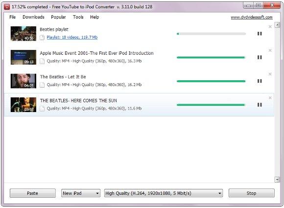 Free YouTube to iPod Converter Download mehrerer Dateien
