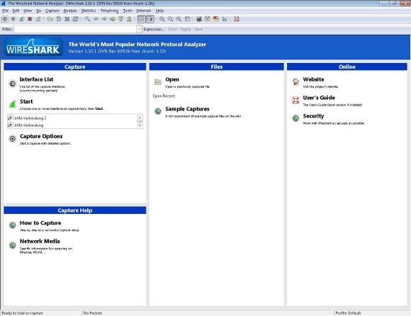 Wireshark Programmfenster